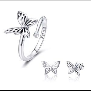 Butterfly silver adjustable ring